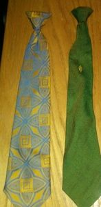 Vintage 1960s Mens 2 Clip On Ties